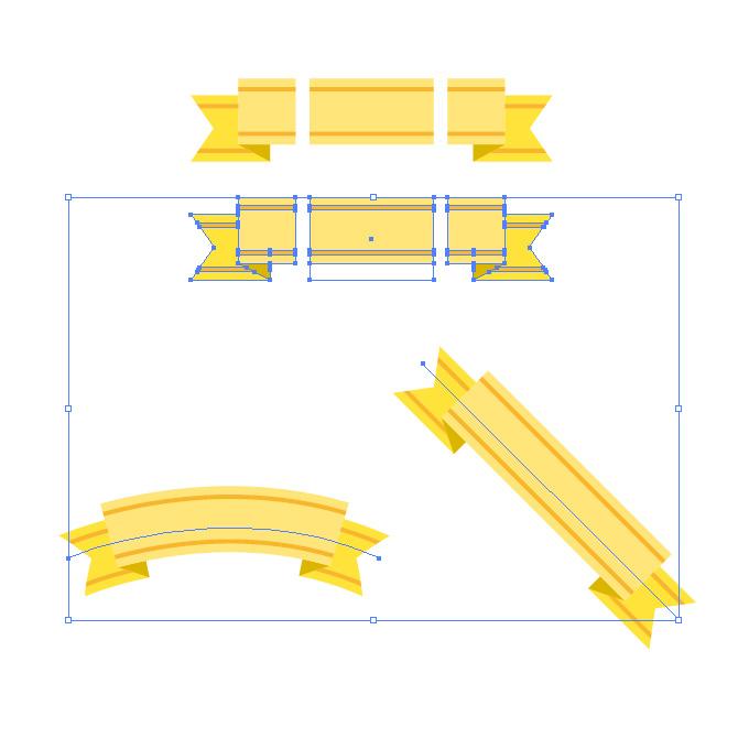 黄色のリボン・帯イラストのイラレ・パターンブラシ