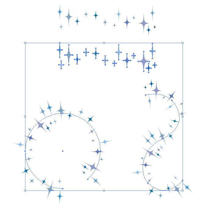 青色のキラキラしたイラストのイラレ・パターンブラシ