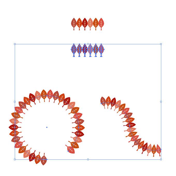 赤色の葉っぱのイラストが並ぶイラレ・パターンブラシ