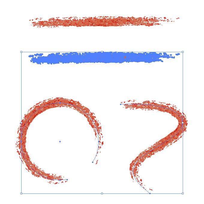赤い色鉛筆やクレヨンのようなイラレ・アートブラシ