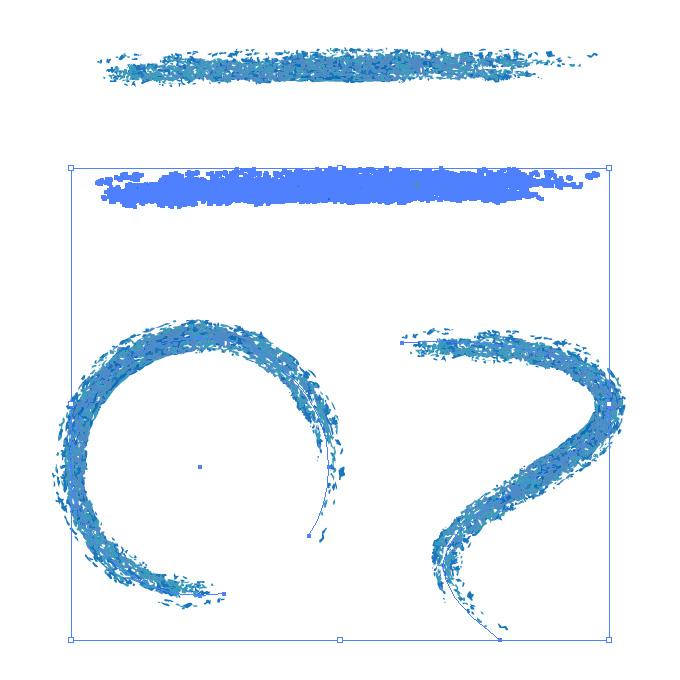 青色の色鉛筆やクレヨンのようなイラレ・アートブラシ