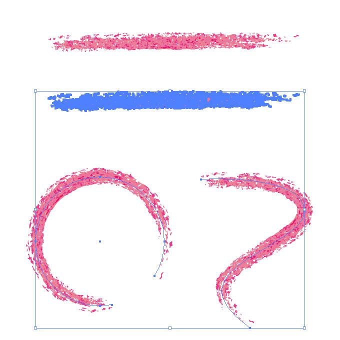 ピンク色の色鉛筆やクレヨンのようなイラレ・アートブラシ