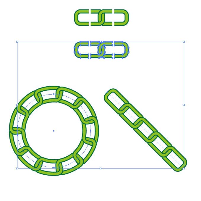 緑色のチェーンが連なるイラレ・パターンブラシ