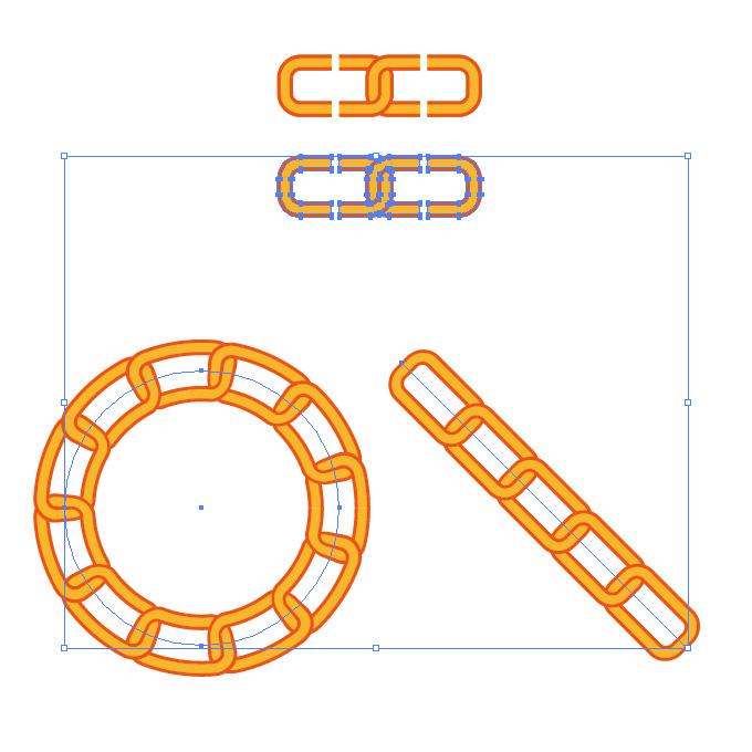 オレンジ色のチェーンが連なるイラレ・パターンブラシ