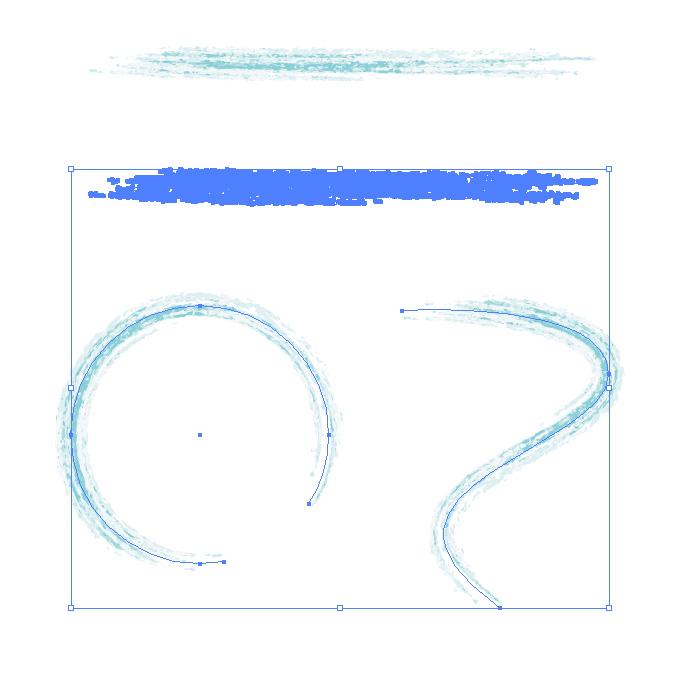 水色の色鉛筆やクレヨンのようなイラレ・アートブラシ