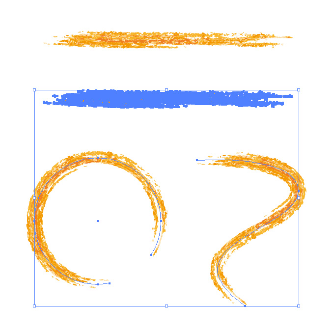 オレンジ色の色鉛筆やクレヨンのようなイラレ・アートブラシ