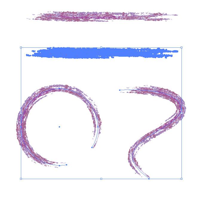 紫色の色鉛筆やクレヨンのようなイラレ・アートブラシ