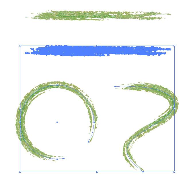 緑色の色鉛筆やクレヨンのようなイラレ・アートブラシ