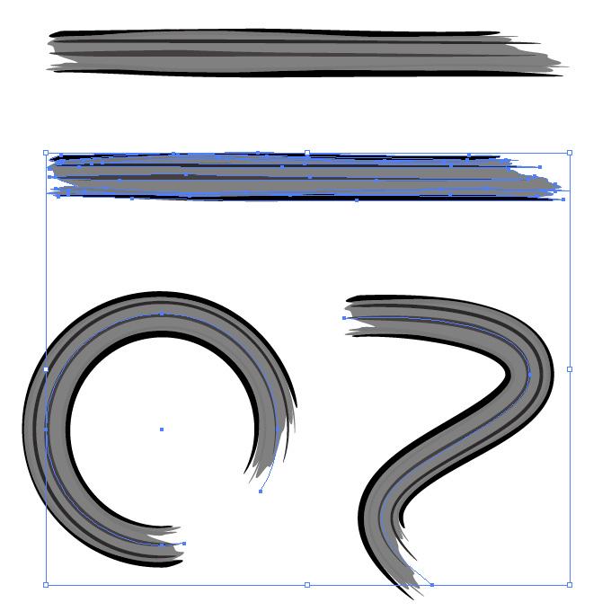 濃淡のある黒いラフなラインのイラレ・アートブラシ