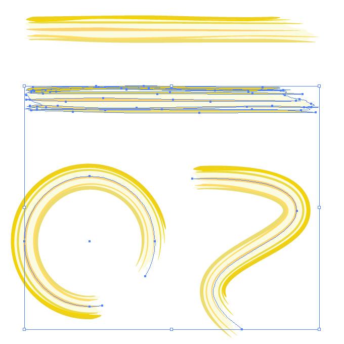 濃淡のある黄色のラフなラインのイラレ・アートブラシ