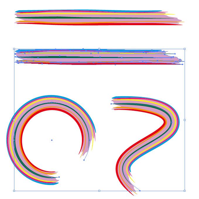 レインボーカラーのラフなラインのイラレ・アートブラシ