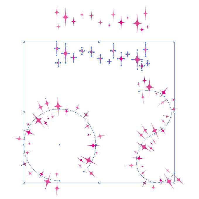 ピンク色のキラキラしたイラストのイラレ・パターンブラシ