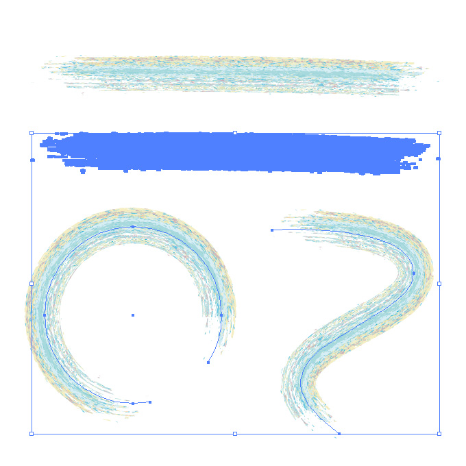 水色系のクレヨンを塗り重ねたようなイラレ・アートブラシ