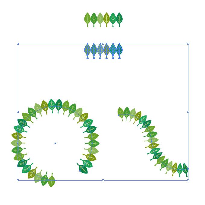 緑色の葉っぱのイラストが並ぶイラレ・パターンブラシ