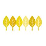 黄色の葉っぱのイラストが並ぶイラレ・パターンブラシ