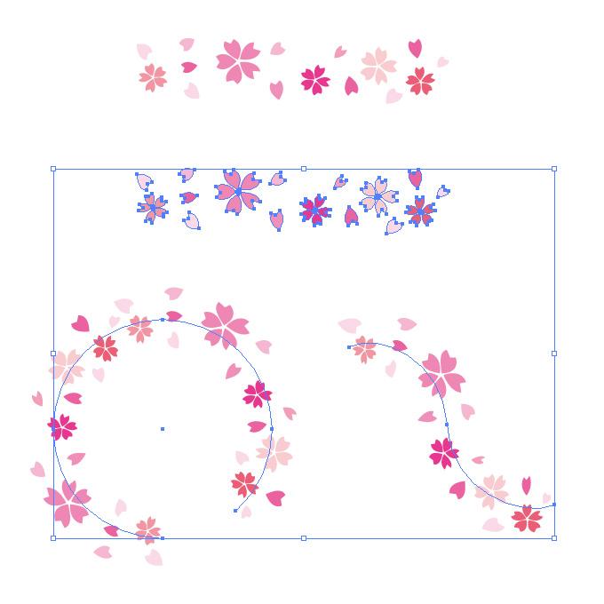 桜のイラストが並ぶイラレ・パターンブラシ