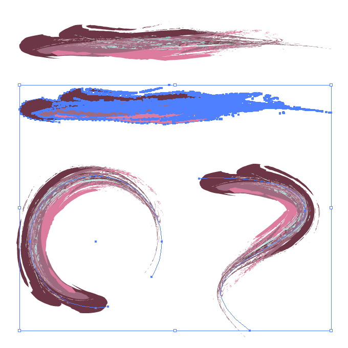 豪快なタッチの紫色系油絵風イラレ・アートブラシ