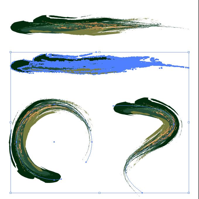 豪快なタッチの緑色系油絵風イラレ・アートブラシ