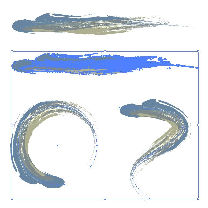 豪快なタッチのブルー系油絵風イラレ・アートブラシ