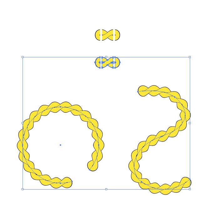 黄色の縄のイラスト、イラレ・パターンブラシ