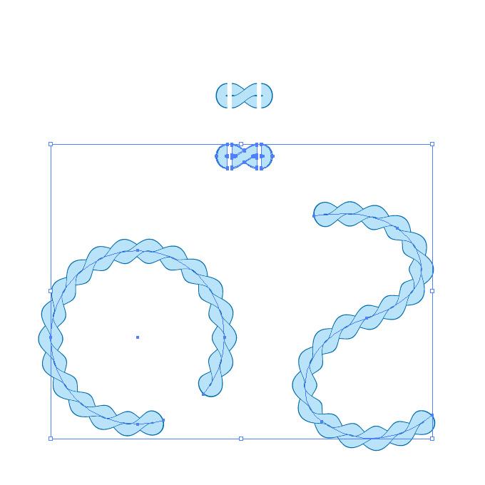 水色の縄のイラスト、イラレ・パターンブラシ
