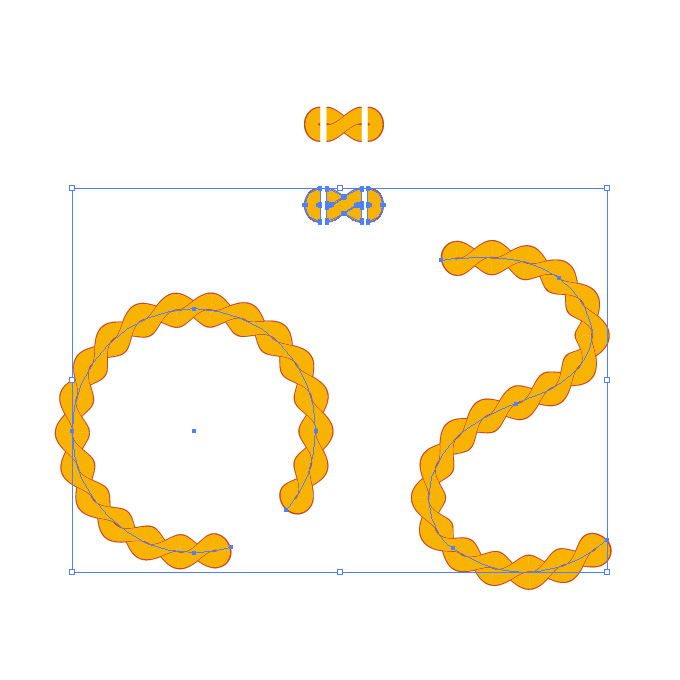 オレンジ色の縄のイラスト、イラレ・パターンブラシ