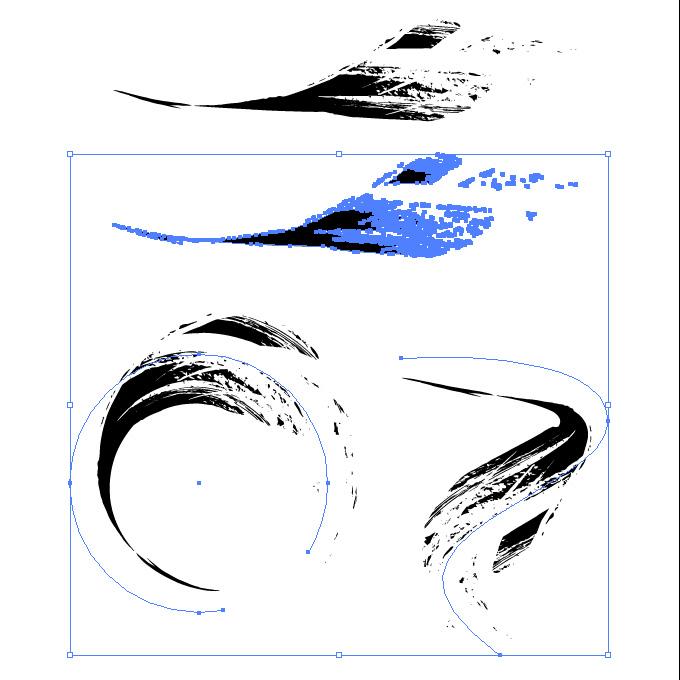 先細のかすれた毛筆イラレ・アートブラシ