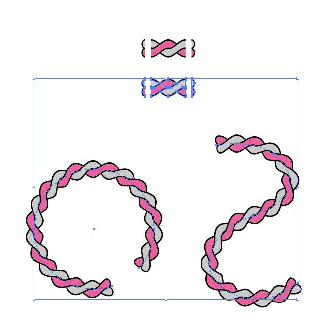 グレーとピンクの2本のロープが絡むイラスト イラレ・パターンブラシ