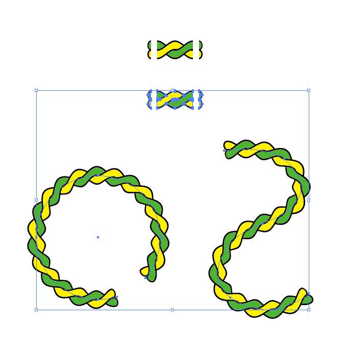 イエローとグリーンの2本のロープが絡むイラスト イラレ・パターンブラシ