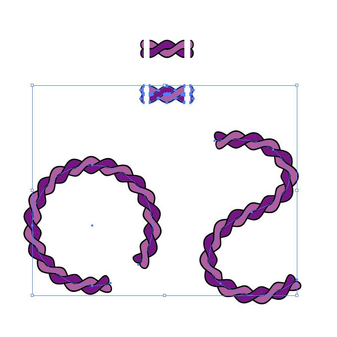 濃淡のある紫色の2本のロープが絡むイラスト イラレ・パターンブラシ