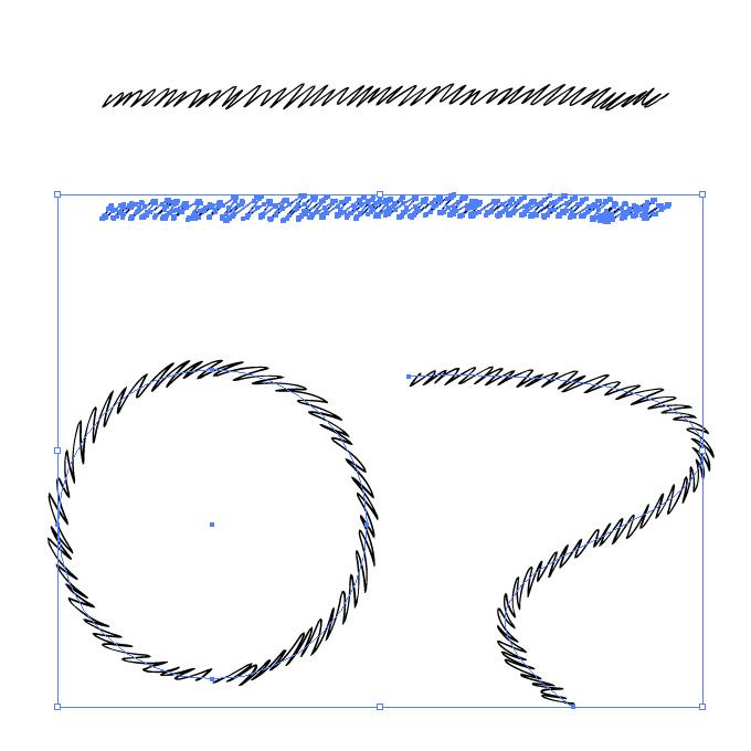 細いペンで描いた強めジグザグ イラレ・アートブラシ
