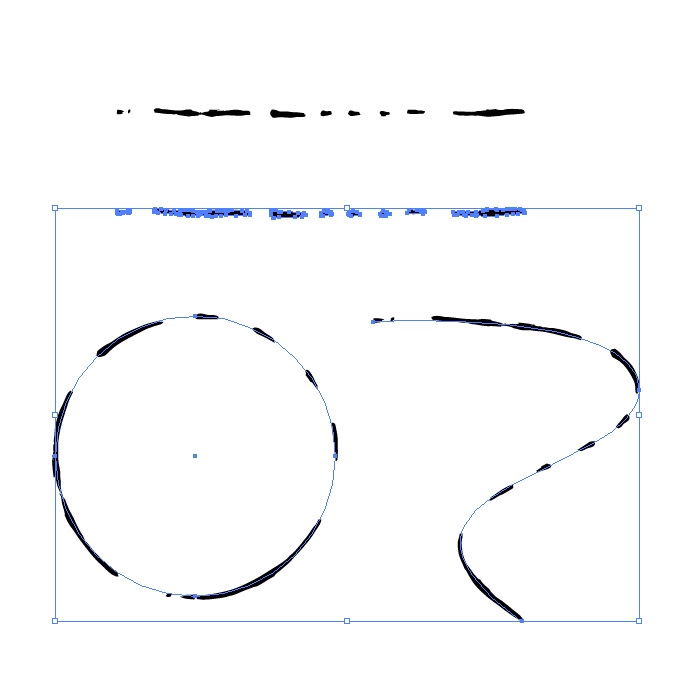 筆ペンで書いた途切れ途切れのイラレ・アートブラシ
