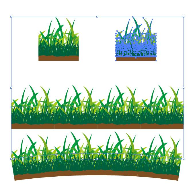 草むらイラストのイラレ・パターンブラシ