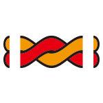 赤とオレンジ色の2本のロープが絡むイラスト イラレ・パターンブラシ