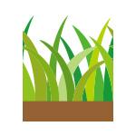土に植わる草のイラストのイラレ・パターンブラシ