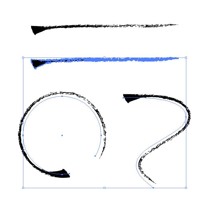 少しかすれた毛筆のイラレ・アートブラシ