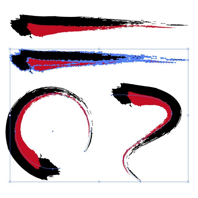 黒と赤の毛筆のイラレ・アートブラシ