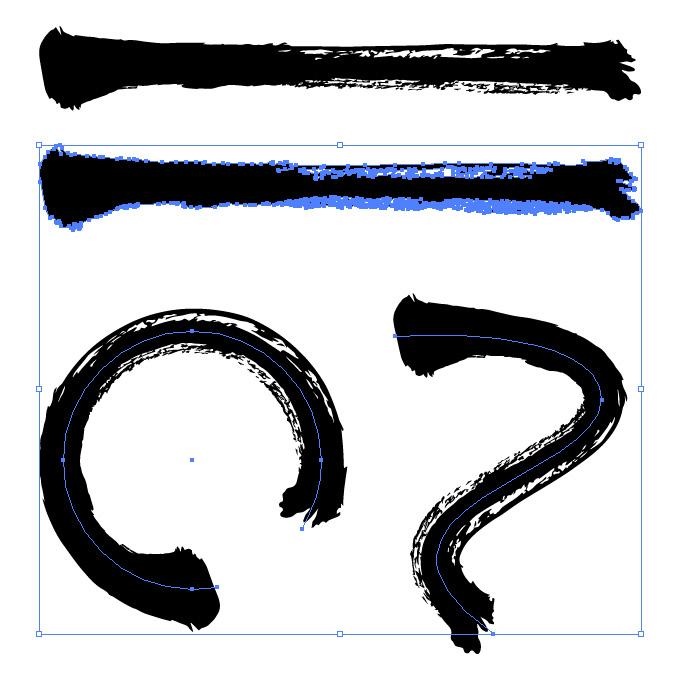 力強い黒の毛筆のイラレ・アートブラシ