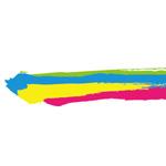 明るい配色の毛筆のイラレ・アートブラシ