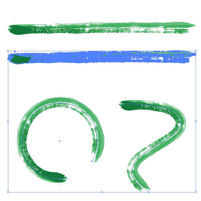 濃淡のある緑色の毛筆のイラレ・アートブラシ