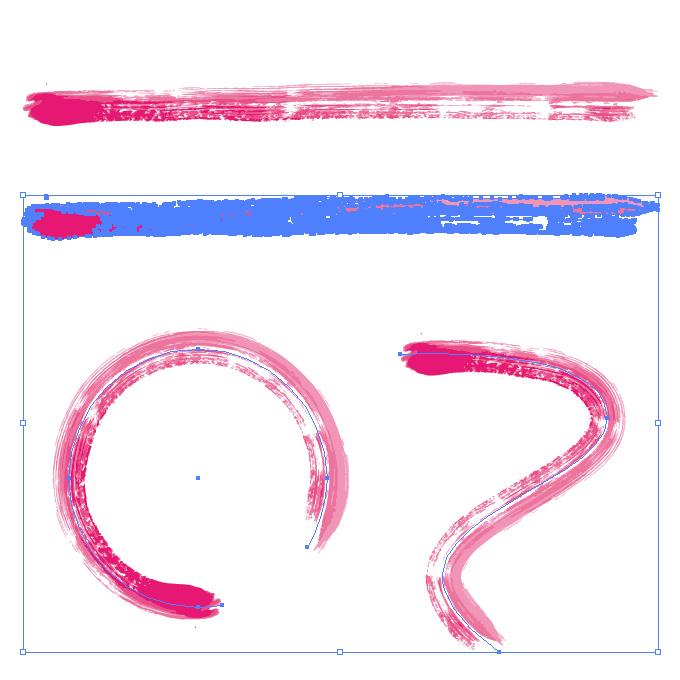 ピンク色の絵の具で描いた毛筆のイラレ・アートブラシ
