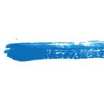 青色の絵の具で描いた毛筆のイラレ・アートブラシ