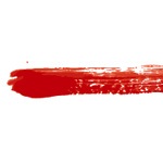 赤色の絵の具で描いた毛筆のイラレ・アートブラシ