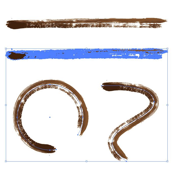 茶色の絵の具で描いた毛筆のイラレ・アートブラシ