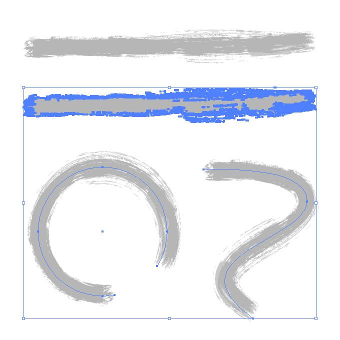 灰色絵の具のかすれた毛筆イラレ・アートブラシ