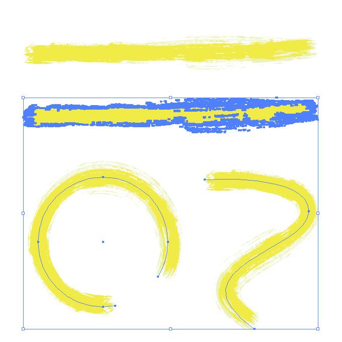 黄色絵の具のかすれた毛筆イラレ・アートブラシ