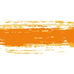 オレンジ色絵の具のかすれた毛筆イラレ・アートブラシ
