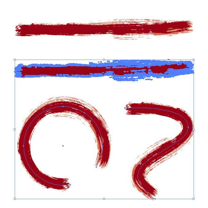 赤色絵の具のかすれた毛筆イラレ・アートブラシ