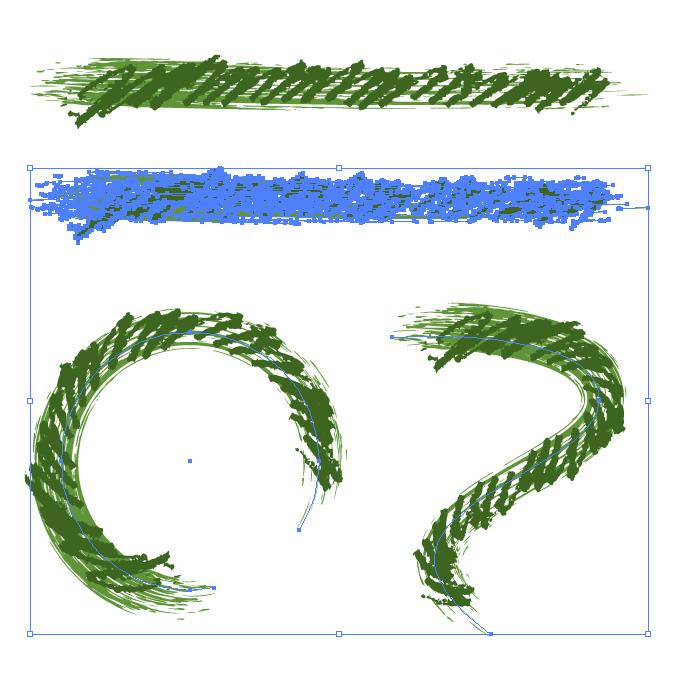 緑色のぐじゃっとした毛筆イラレ・アートブラシ