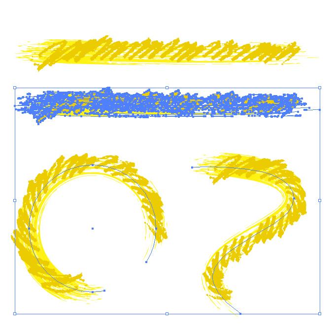 黄色のぐじゃっとした毛筆イラレ・アートブラシ